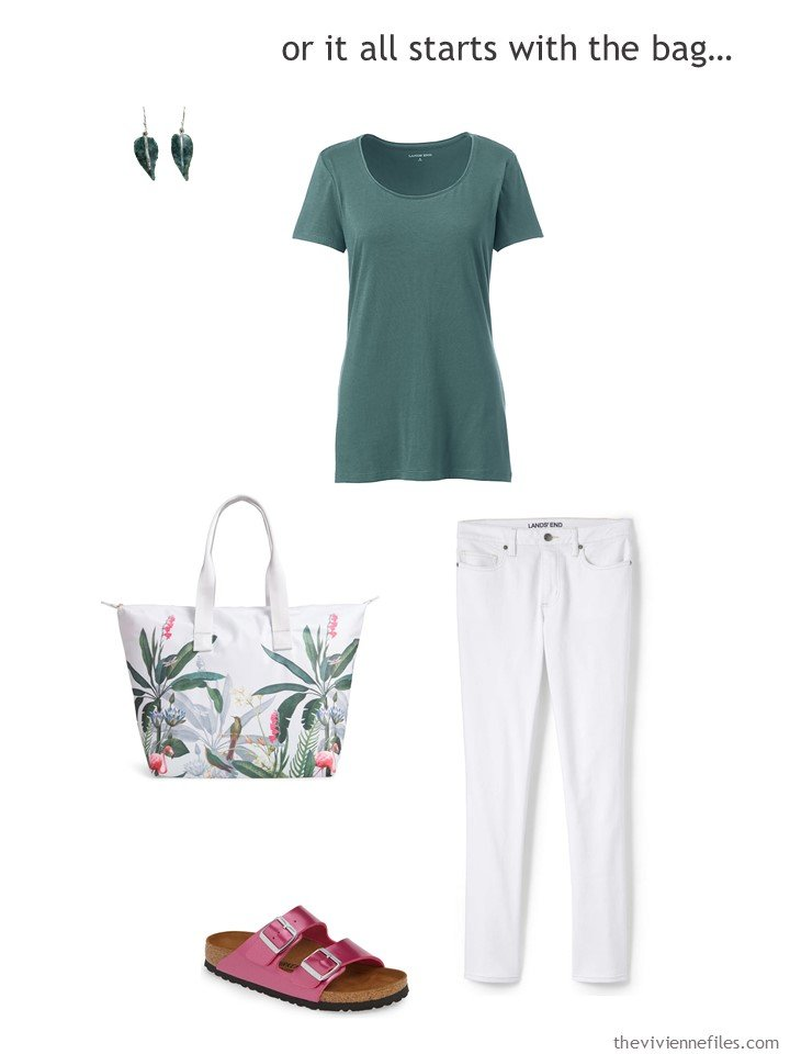 9. waring white jeans with a floral tote bag