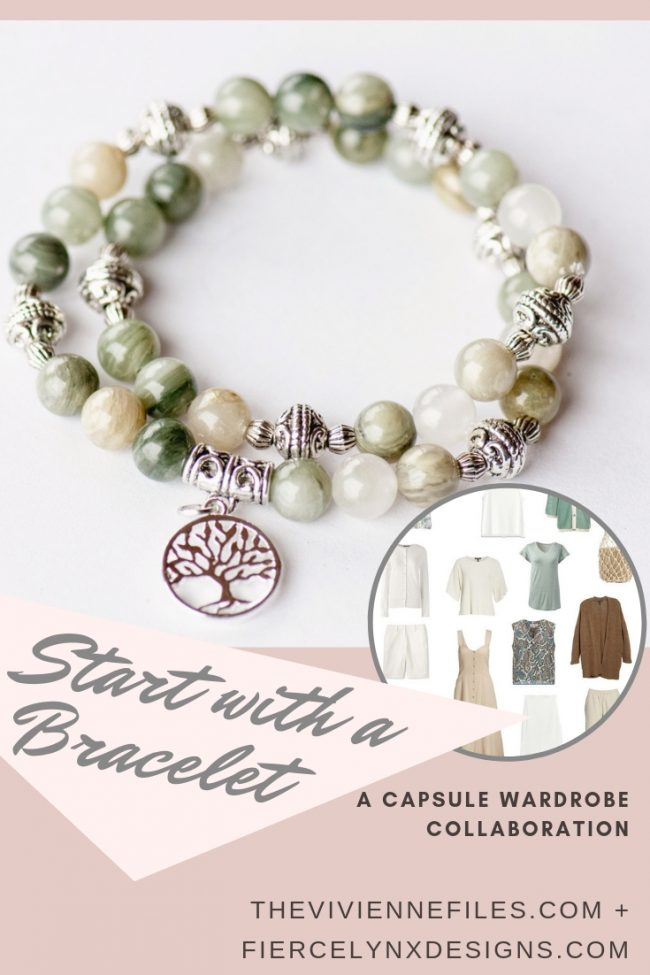 How to build a capsule wardrobe around a bracelet in natural gemstones by Fierce Lynx Designs