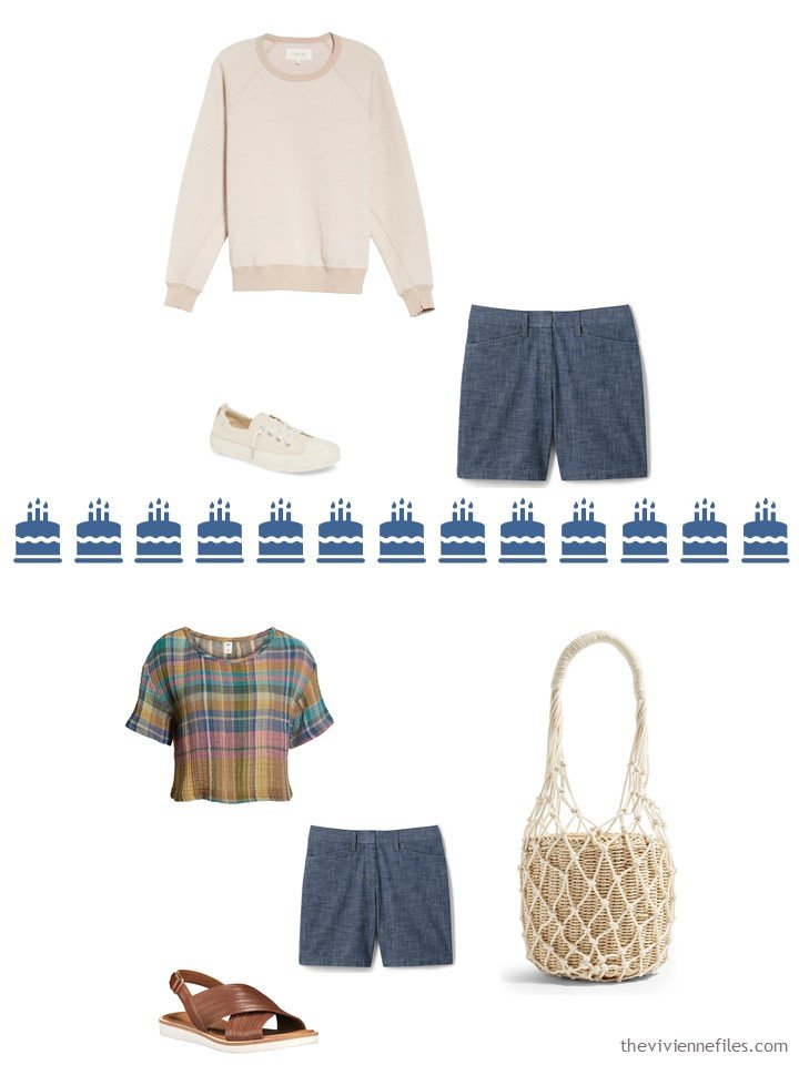 10. 2 ways to wear chambray shorts from a Whatever's Clean travel capsule wardrobe