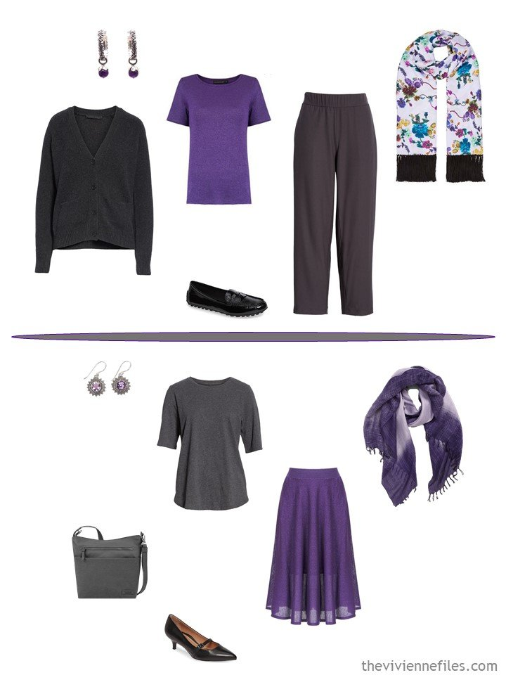 10. wearing purple separates from a business capsule wardrobe