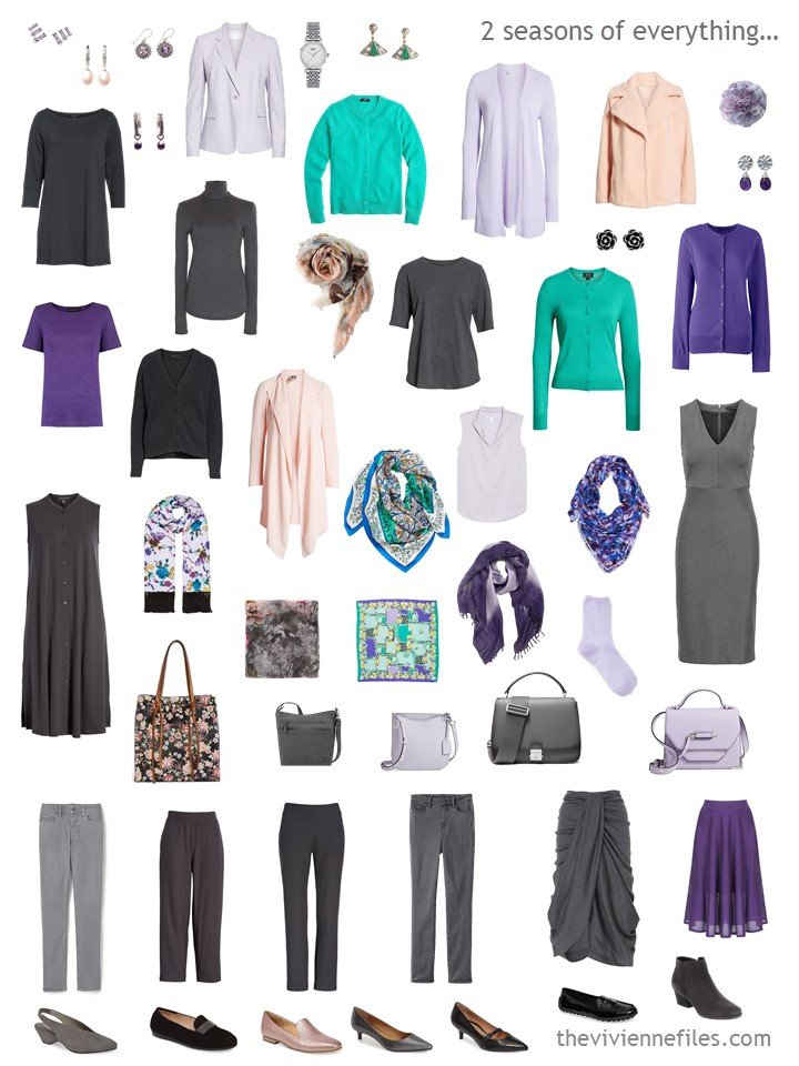 11. 2 season capsule wardrobe in grey with shades of purple, peach and green