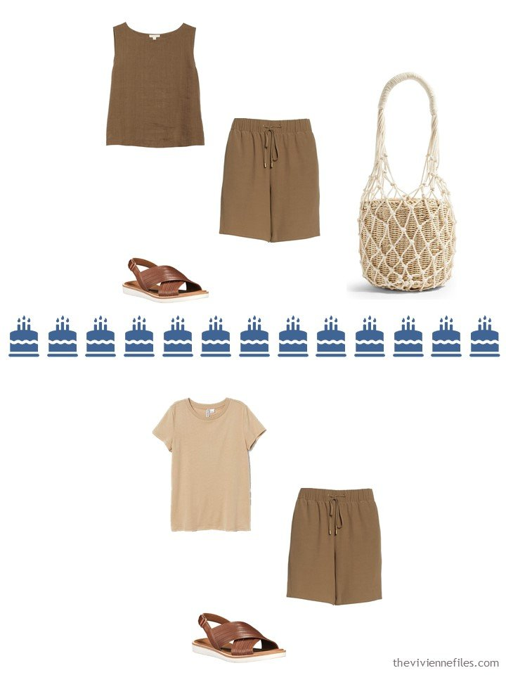 11. 2 ways to wear brown shorts from a Whatever's Clean 13 travel capsule wardrobe