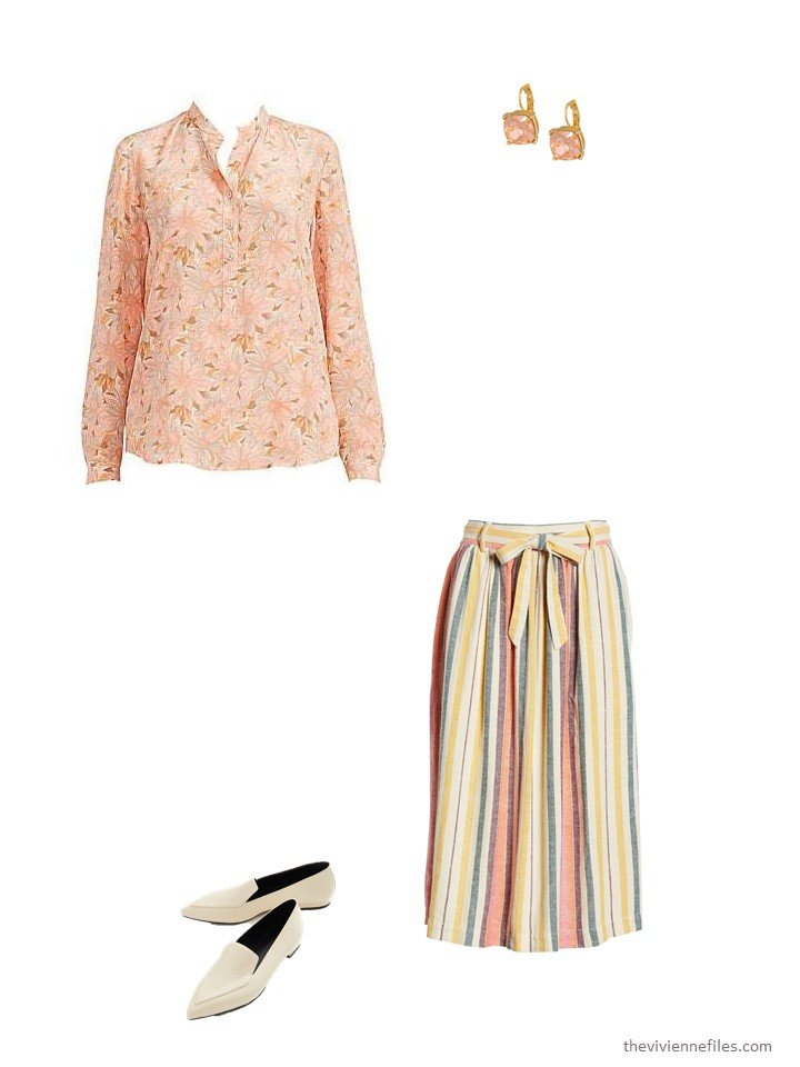11. striped skirt with light coral floral blouse