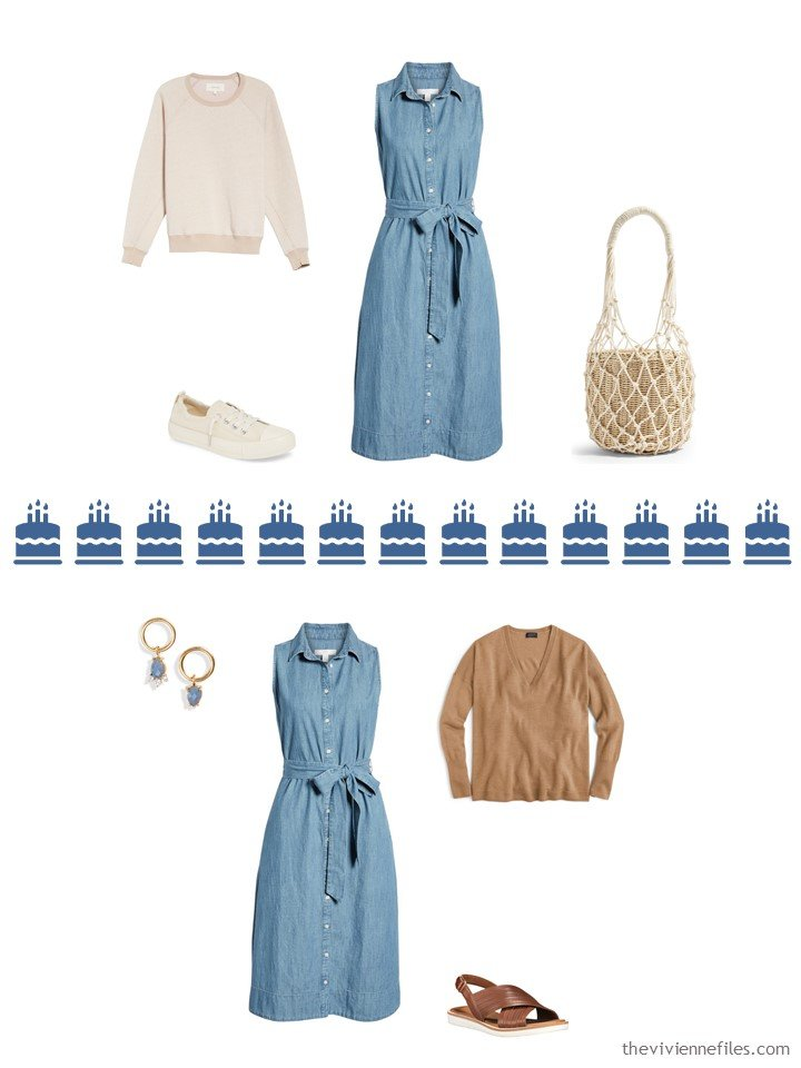 12. 2 ways to wear a chambray dress from a Whatever's Clean 13 travel capsule wardrobe