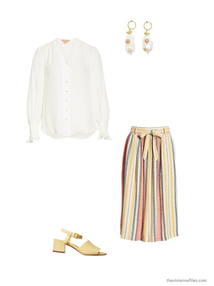 12. striped skirt with pearl blouse