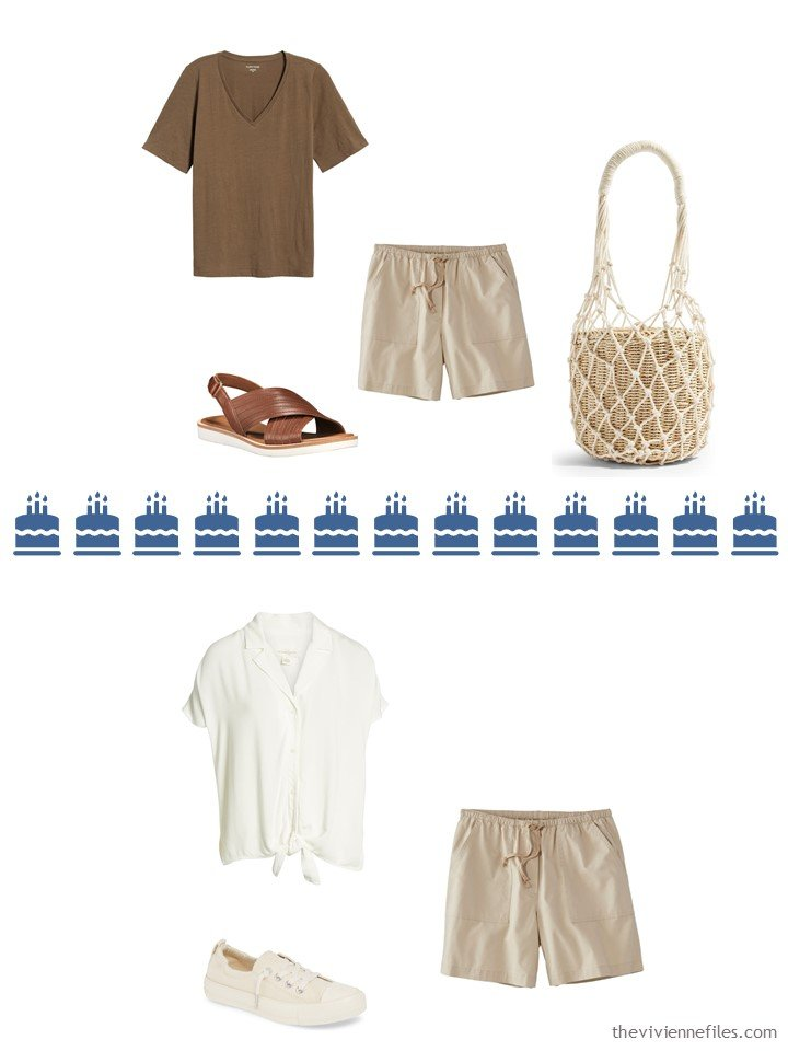 14. 2 ways to wear tan shorts from a Whatever's Clean 13 travel capsule wardrobe