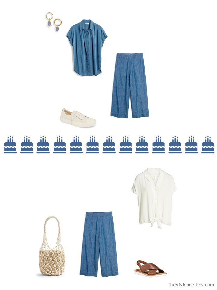 `2. 2 ways to wear chambray cropped pants from a Whatever's Clean 13 travel capsule wardrobe
