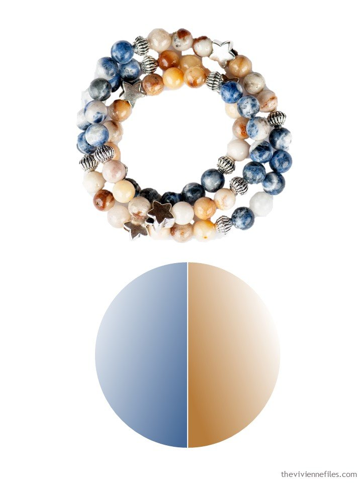 2. denim blue and warm gold bracelet with color palette