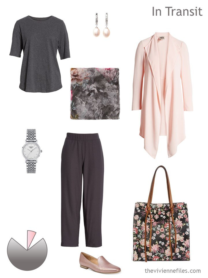 2. grey & peach travel outfit