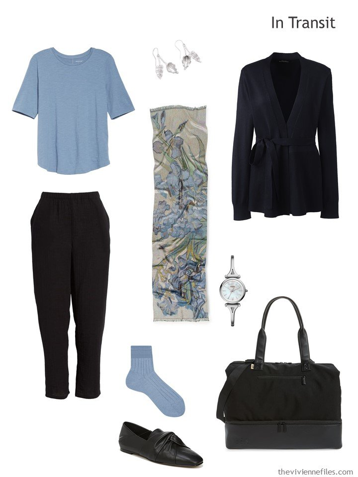 2. travel outfit in black and dusky blue