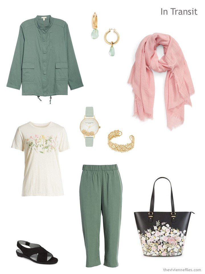 2. travel outfit in sage green with floral accents