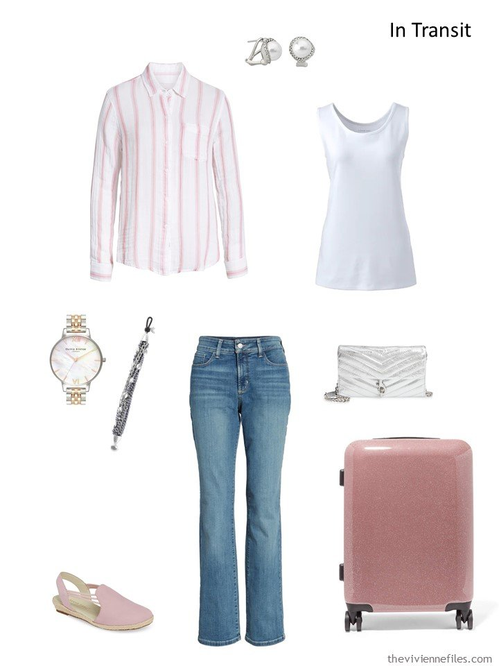 3. denim, pink and white travel outfit