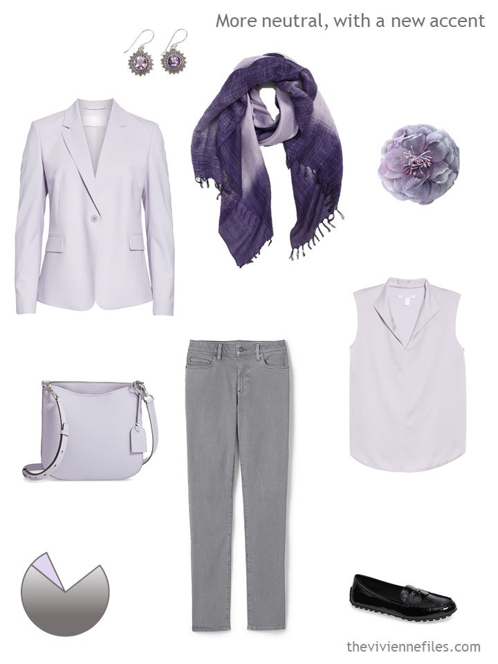3. grey and lilac casual business outfit