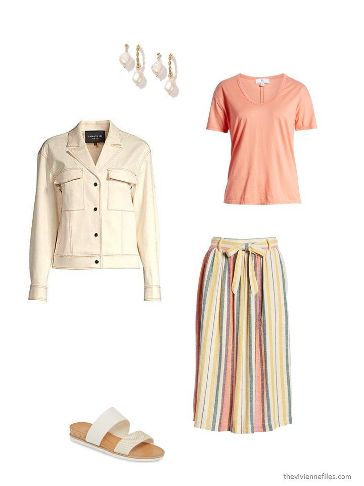 3. striped skirt with bone denim jacket and peach tee