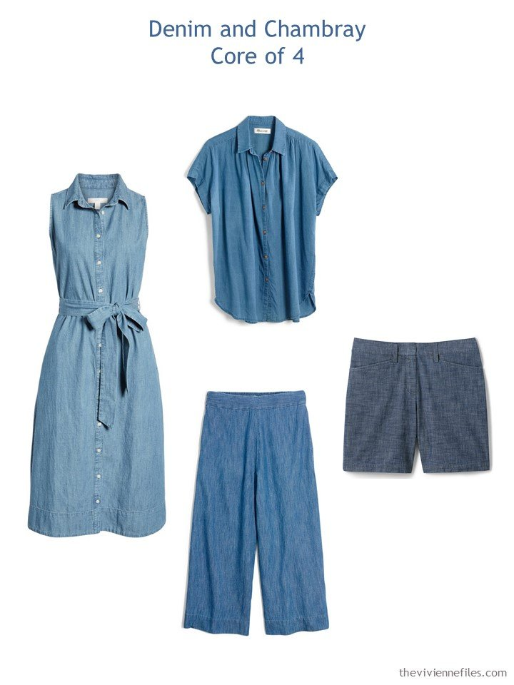 3. summer wardrobe Core of 4 in chambray blue