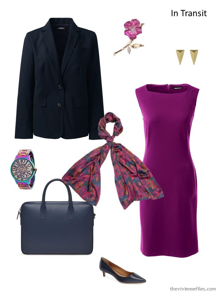 3. travel outfit in purple and navy