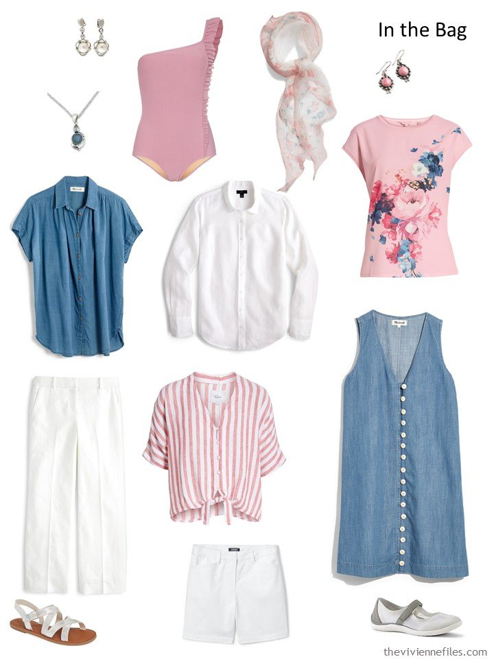 4. denim, pink and white travel capsule wardrobe