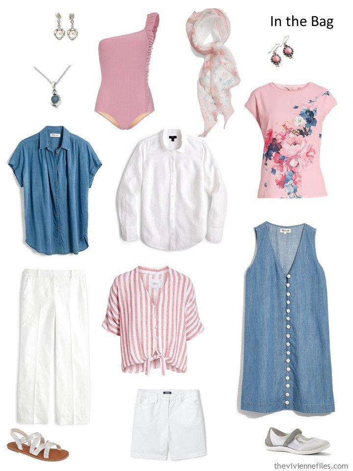 4. denim, pink and white travel capsule wardrobe