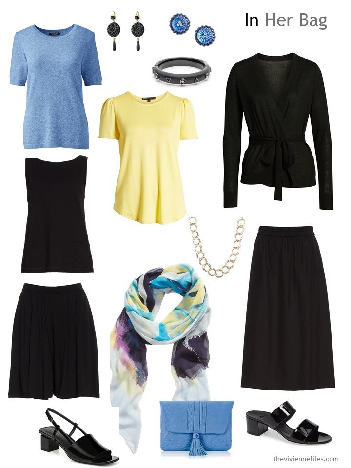 4. six-pack travel capsule wardrobe in black, blue and yellow