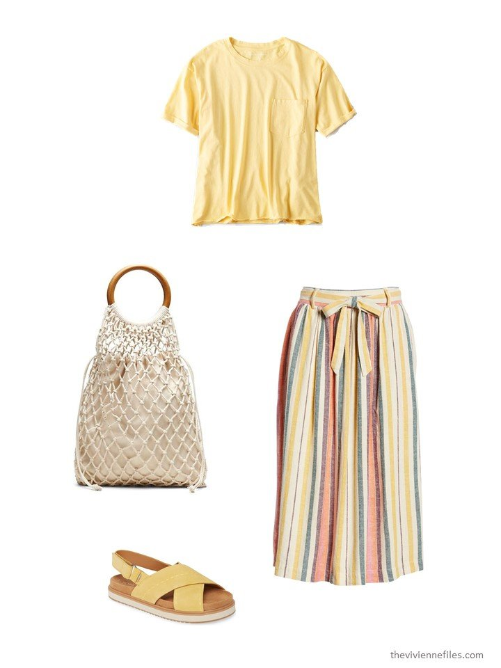 4. striped skirt with yellow tee