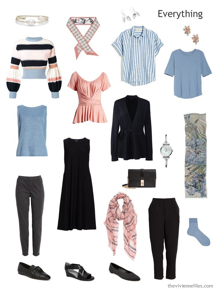 4. travel capsule wardrobe in black, dusky blue and blush