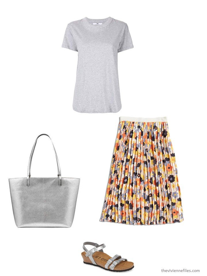 4. wearing a floral skirt with a tee shirt