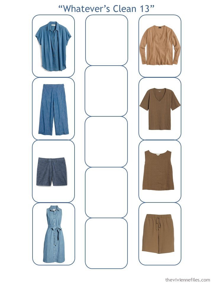 5. a Whatever's Clean 13 wardrobe started, with chambray and warm brown