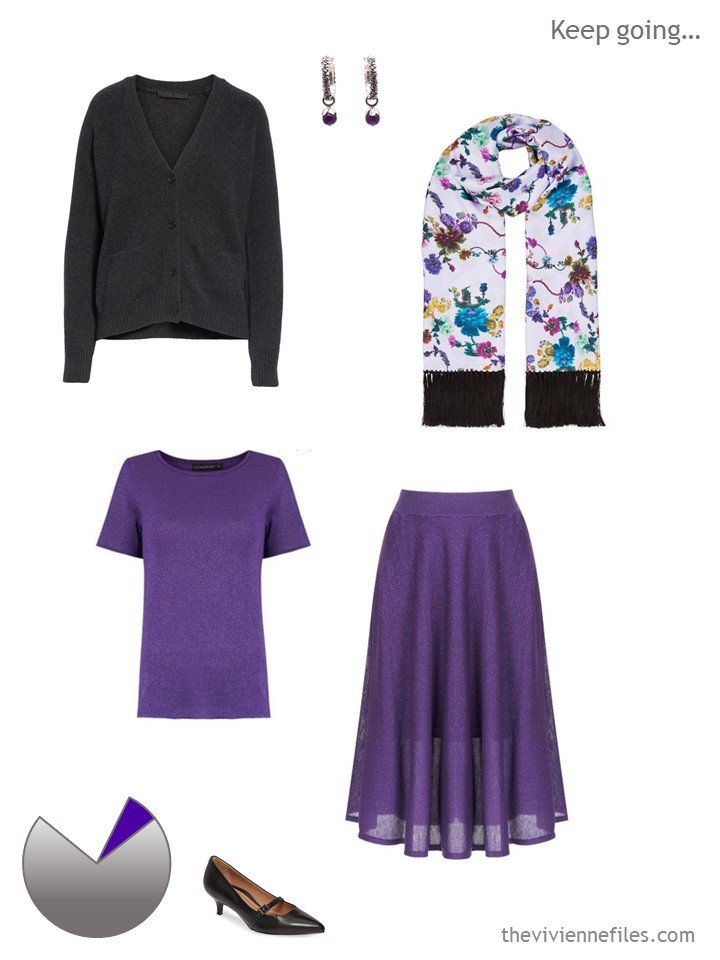 5. purple and charcoal work outfit