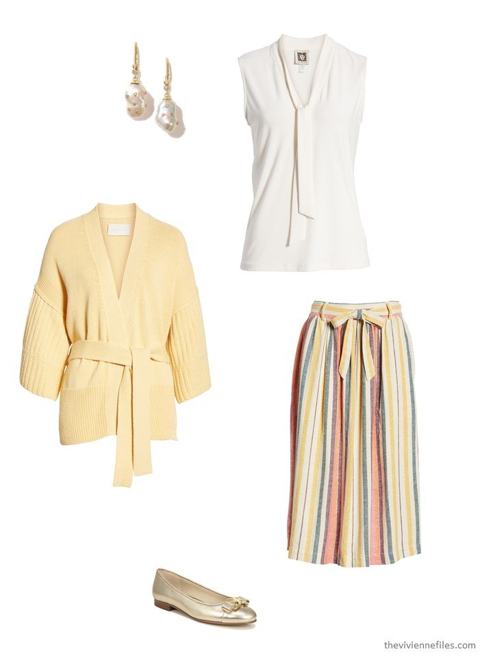 5. striped skirt with bone blouse and yellow cardigan