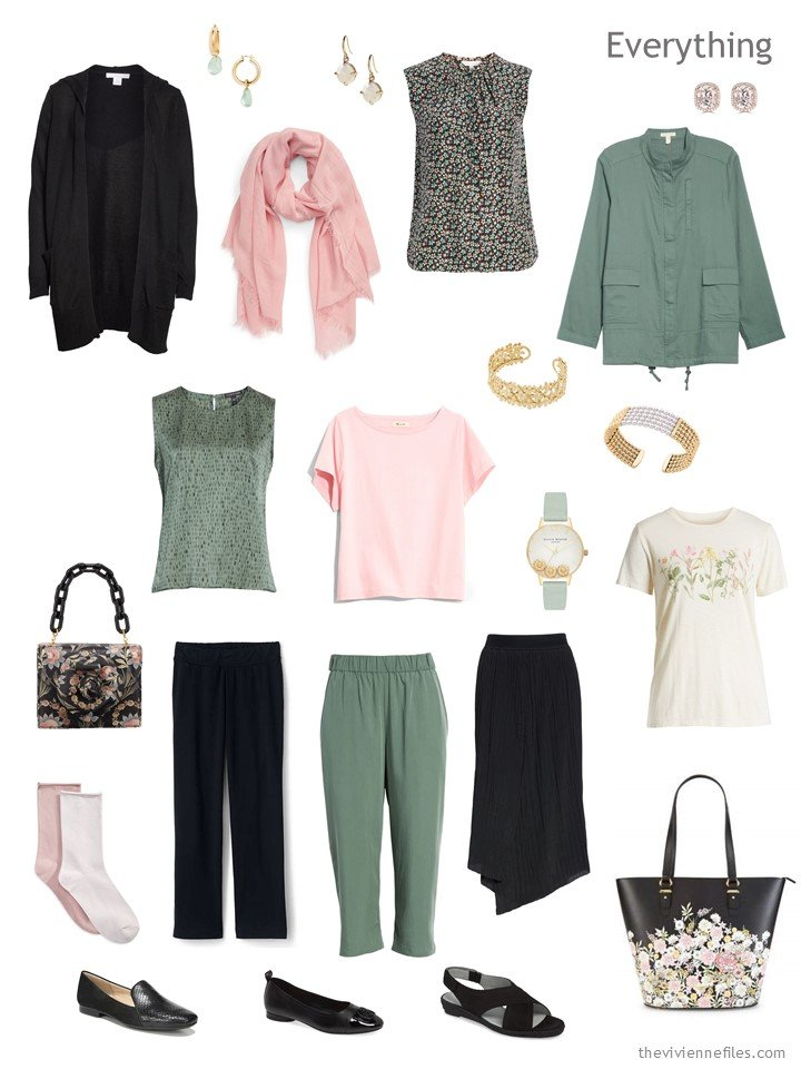 5. travel capsule wardrobe in black, sage green and blush pink