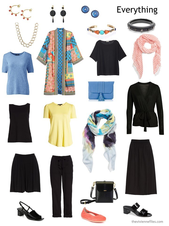 5. travel capsule wardrobe in black with blue and yellow