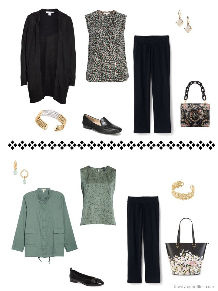 6. 2 ways to wear black pants from a travel capsule wardrobe