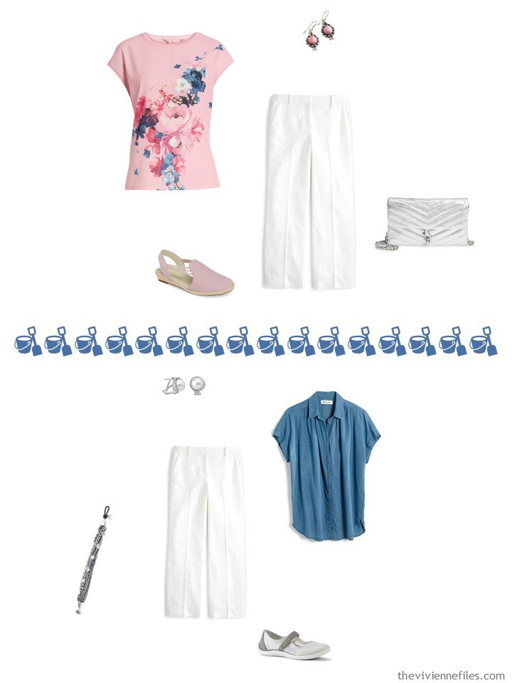 6. 2 ways to wear white linen pants from a travel capsule wardrobe