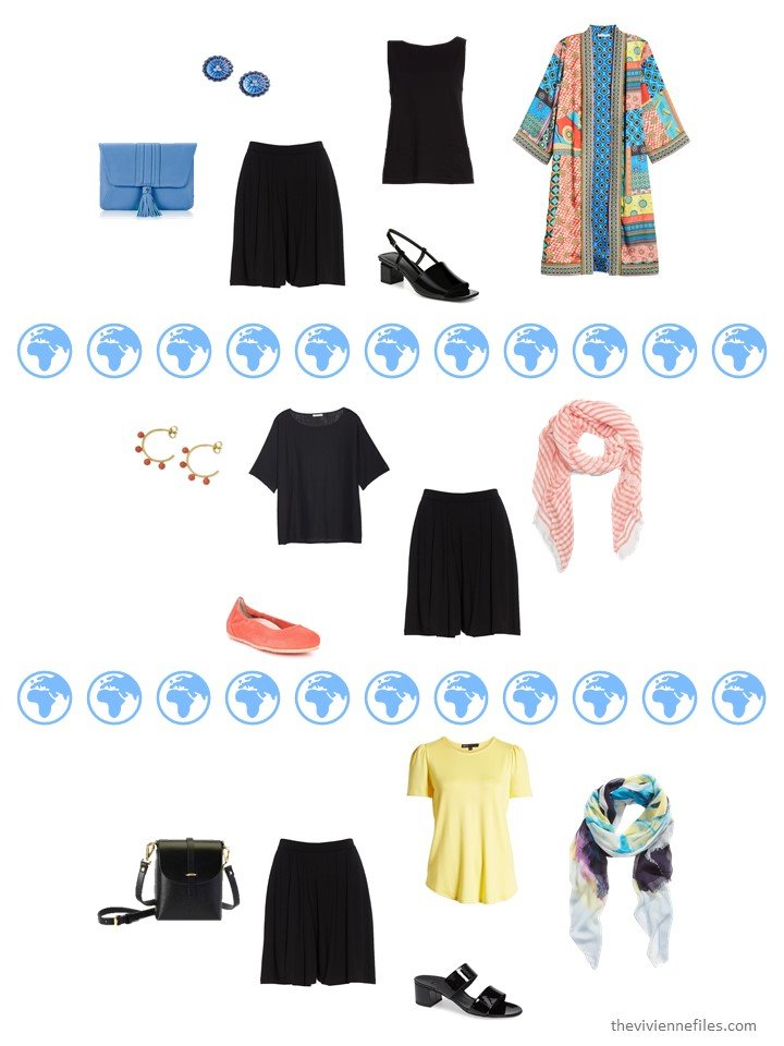 6. 3 ways to wear black shorts from a travel capsule wardrobe