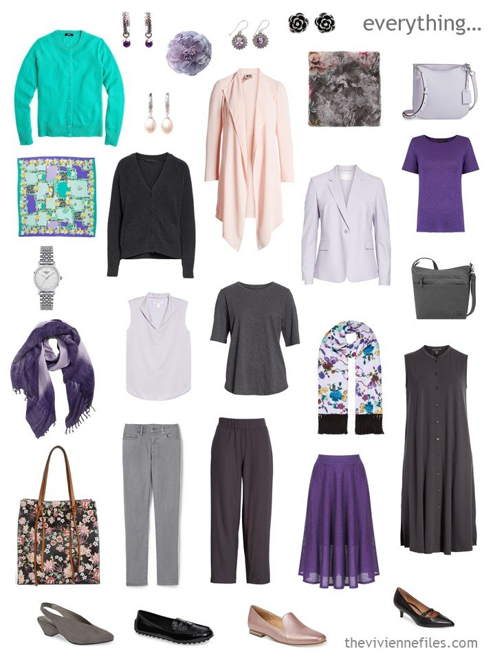 6. capsule wardrobe in grey, shades of purple, peach and green