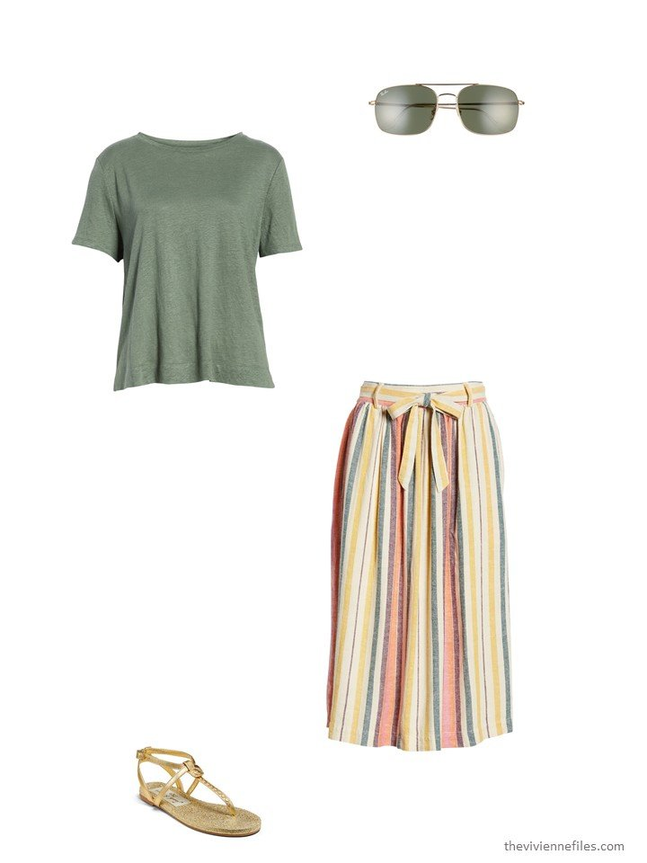 6. striped skirt with green tee