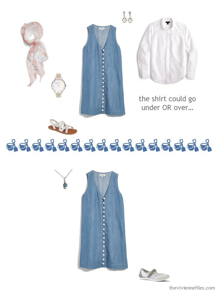 7. 2 ways to wear a denim dress from a travel capsule wardrobe