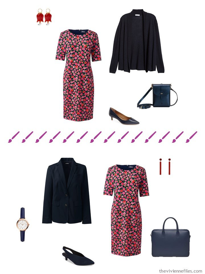 7. 2 ways to wear a floral dress from a travel capsule wardrobe