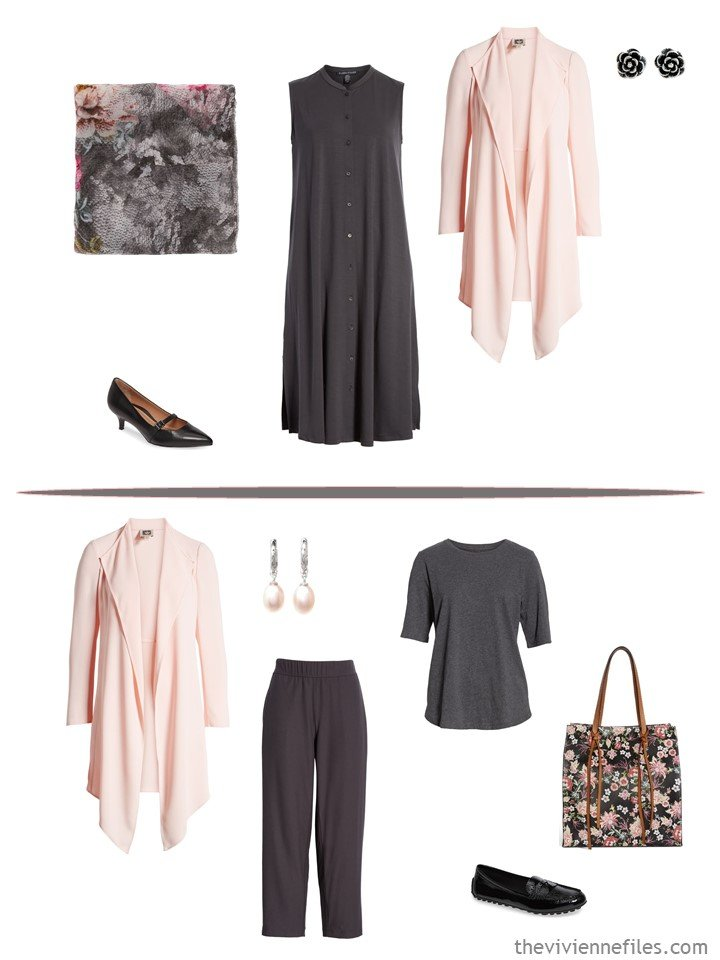 7. 2 ways to wear a peach cardigan from a business capsule wardrobe