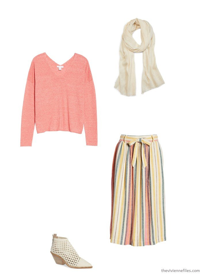7. striped skirt with coral sweater