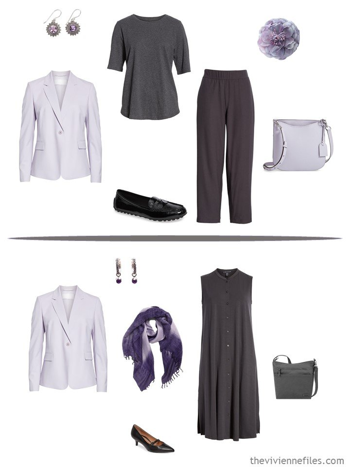 8. 2 ways to wear a pale lilac blazer from a business capsule wardrobe