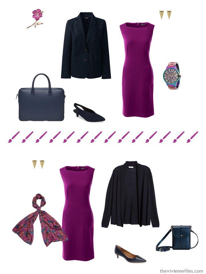 8. 2 ways to wear a purple dress from a travel capsule wardrobe