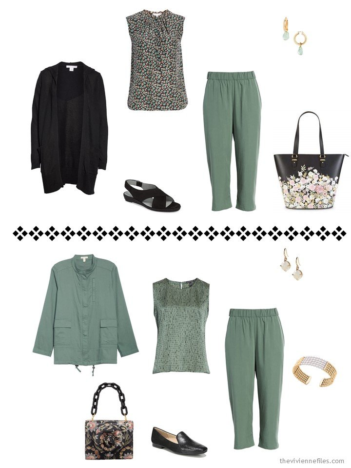 8. 2 ways to wear sage pants from a travel capsule wardrobe
