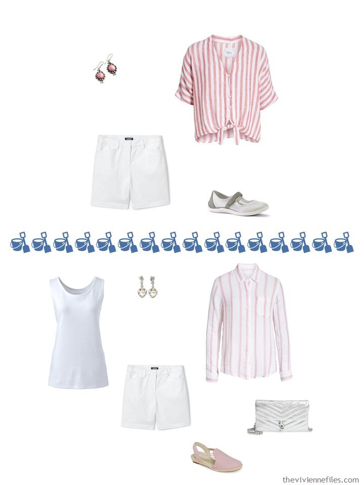 8. 2 ways to wear white shorts from a travel capsule wardrobe