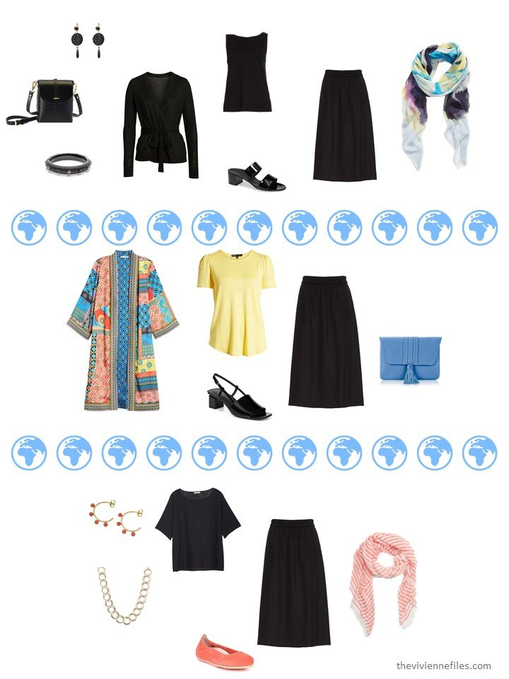 8. 3 ways to wear a black skirt from a travel capsule wardrobe
