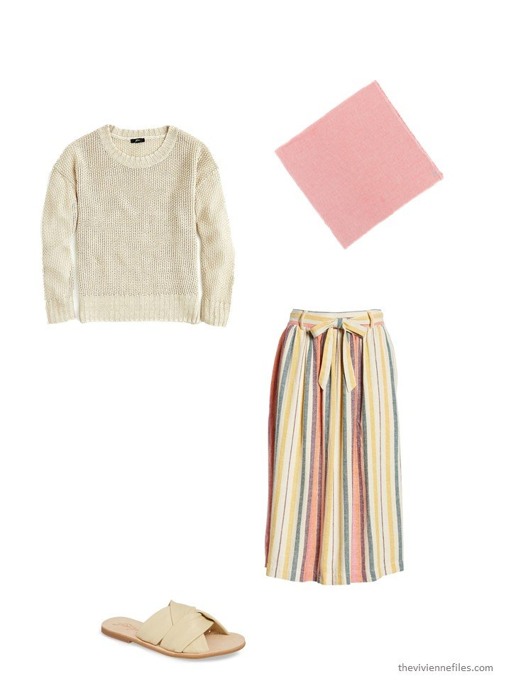 8. striped skirt with beige sweater