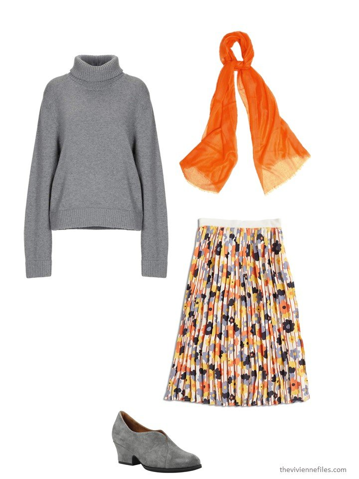 8. wearing a floral skirt with a turtleneck sweater