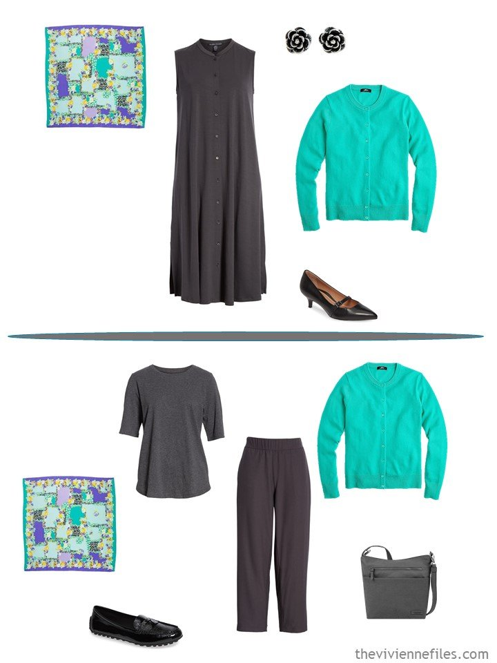 9. 2 ways to wear a green cardigan from a capsule wardrobe