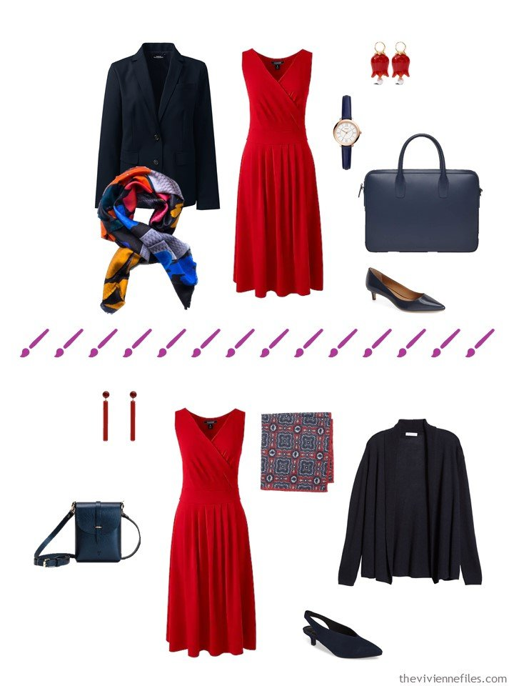 9. 2 ways to wear a red dress from a travel capsule wardrobe