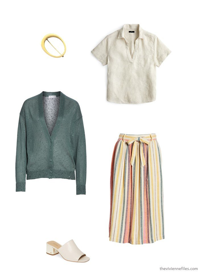 9. striped skirt with green cardigan and bone blouse